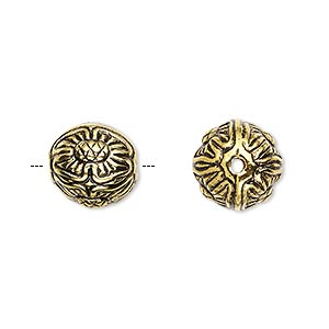 bead, antiqued gold-finished copper-coated plastic, 12mm round with flower design. sold per pkg of 35.