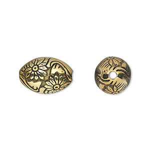 bead, antiqued gold-finished copper-coated plastic, 16x11mm oval with flowers and 2mm hole. sold per 50-gram pkg, approximately 45 beads.