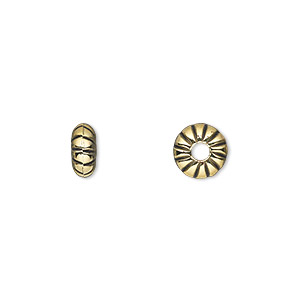 bead, antiqued gold-finished copper-coated plastic, 8x4mm rondelle with 2.5mm hole. sold per 50-gram pkg, approximately 280 beads.