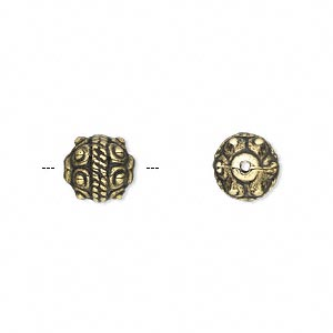 bead, antiqued gold-finished copper-coated plastic, 9mm fancy round. sold per 50-gram pkg, approximately 130 beads.