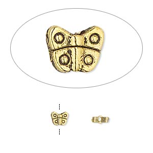 bead, antiqued gold-finished pewter (zinc-based alloy), 4.5x4mm double-sided butterfly. sold per 4-inch strand, approximately 25 beads.