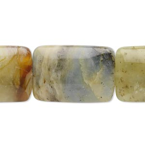 bead, antiqued new jade (natural), 25x17mm rectangle, b grade, mohs hardness 2-1/2 to 6. sold per 16-inch strand.
