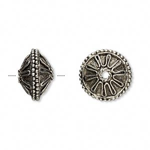 bead, antiqued pewter (tin-based alloy), 15mm wheel with dots. sold per pkg of 2.