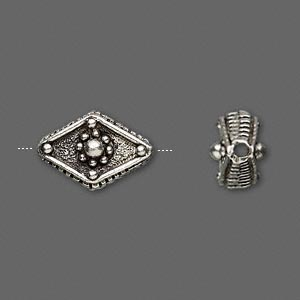 bead, antiqued pewter (tin-based alloy), 16x11mm diamond. sold per pkg of 4.