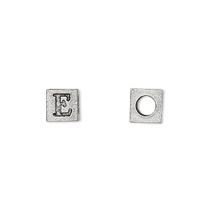bead, antiqued pewter (tin-based alloy), 7x7mm cube with greek letter, epsilon, 3mm hole. sold per pkg of 4.