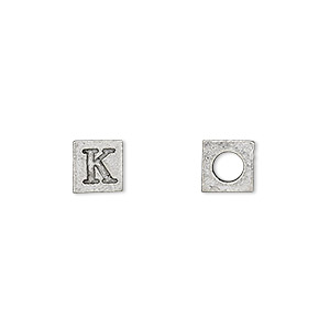 bead, antiqued pewter (tin-based alloy), 7x7mm cube with greek letter, kappa, 3mm hole. sold per pkg of 4.