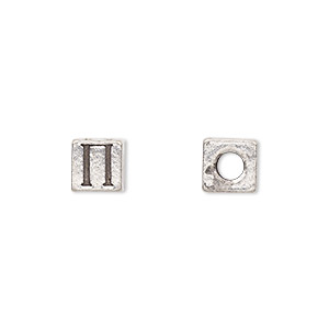 bead, antiqued pewter (tin-based alloy), 7x7mm cube with greek letter, pi, 3mm hole. sold per pkg of 4.