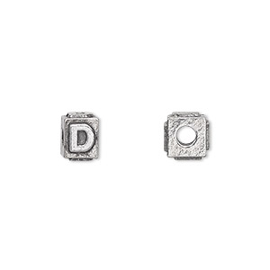 bead, antiqued pewter (tin-based alloy), 8x6mm rectangle with alphabet letter d and 3mm hole. sold per pkg of 4.