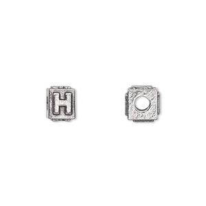bead, antiqued pewter (tin-based alloy), 8x6mm rectangle with alphabet letter h and 3mm hole. sold per pkg of 4.