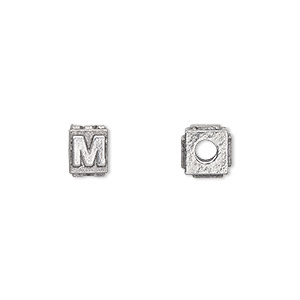 bead, antiqued pewter (tin-based alloy), 8x6mm rectangle with alphabet letter m and 3mm hole. sold per pkg of 4.