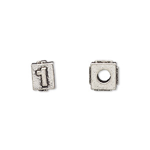 bead, antiqued pewter (tin-based alloy), 8x6mm rectangle with number 1, 3mm hole. sold per pkg of 4.