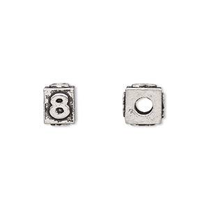 bead, antiqued pewter (tin-based alloy), 8x6mm rectangle with number 8, 3mm hole. sold per pkg of 4.