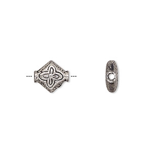 bead, antiqued pewter (zinc-based alloy), 10x9mm patterned flat diamond. sold per pkg of 24.