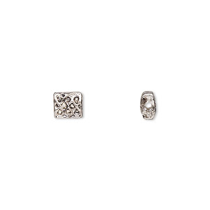 bead, antiqued pewter (zinc-based alloy), 6x5.5mm rectangle with celtic knot design and 0.7mm hole. sold per pkg of 24.