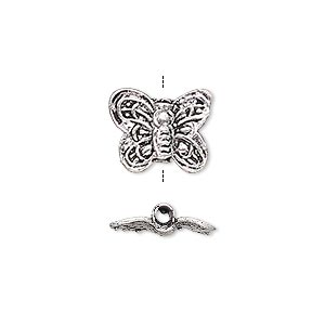 bead, antiqued silver-finished brass, 14x12mm butterfly with 2mm hole. sold per pkg of 4.