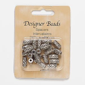 bead, antiqued silver-finished pewter (zinc-based alloy), 11x6mm round tube with line design, 2mm hole. sold per pkg of 24.