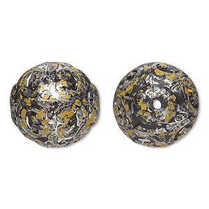 bead, antiqued silver-finished plastic, yellow and black, 18mm textured round with 1.5mm hole. sold per pkg of 16.