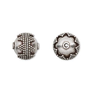 bead, antiqued sterling silver, 12mm beaded round. sold per pkg of 2.