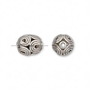 bead, antiqued sterling silver, 12x10mm oval with swirls. sold individually.