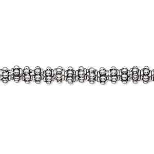 bead, antiqued sterling silver, 5x3mm bumpy rondelle. sold per 1/4 troy ounce, approximately 30-35 beads.