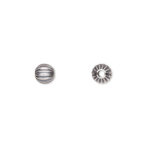 bead, antiqued sterling silver, 6mm seamless corrugated round. sold per pkg of 10.