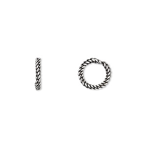 bead, antiqued sterling silver, 9.5x2mm twisted rondelle with 6.5mm hole. sold per pkg of 2.