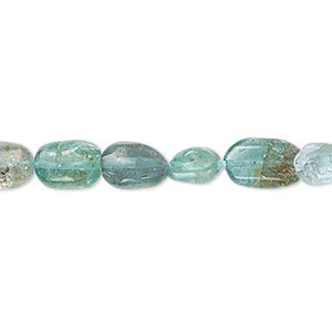 bead, apatite (dyed), medium to large hand-cut pebble, mohs hardness 5. sold per 14-inch strand.