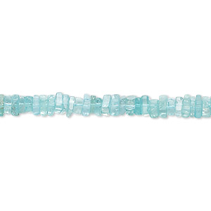 bead, apatite (natural), 4x1mm-6x2mm hand-cut square rondelle, b- grade, mohs hardness 5. sold per 8-inch strand, approximately 95-150 beads.