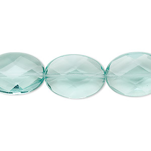 bead, aqua quartz glass, 18x13mm faceted flat oval. sold per 16-inch strand.