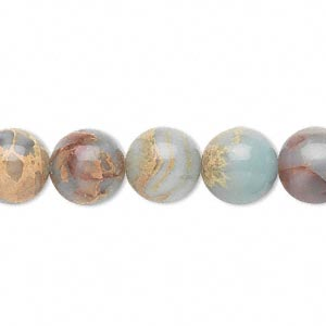 bead, aqua terra jasper (natural), 10mm round, b grade, mohs hardness 3-1/2 to 4. sold per 16-inch strand.