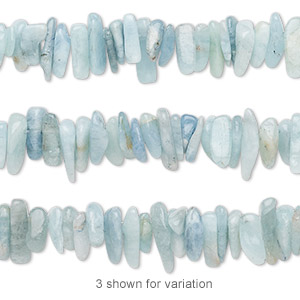 bead, aquamarine (dyed / heated), large to extra-large hand-cut hawaiian chip, mohs hardness 7-1/2 to 8. sold per 16-inch strand.