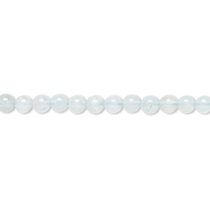 bead, aquamarine (heated), 4mm round, c grade, mohs hardness 7-1/2 to 8. sold per 16-inch strand.