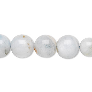 bead, aquamarine (heated), 7-20mm graduated round, c- grade,  mohs hardness 7-1/2 to 8. sold per 18-inch strand.