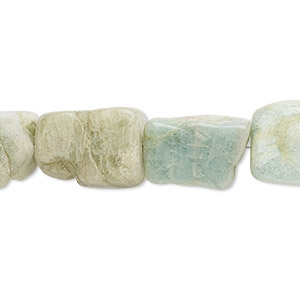 bead, aquamarine (heated), small to large hand-cut tumbled nugget, mohs hardness 7-1/2 to 8. sold per 7-inch strand.