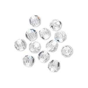 bead, asfour crystal, crystal, crystal clear, 6mm faceted round. sold per pkg of 12.