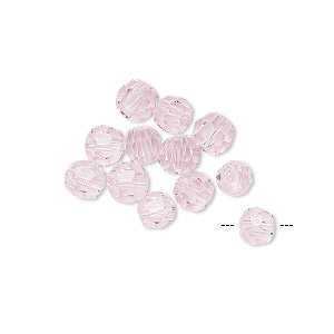 bead, asfour crystal, crystal, rose, 5mm faceted round. sold per pkg of 12.