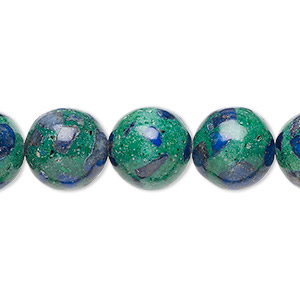 bead, azurite-malachite (assembled), 12mm round. sold per 16-inch strand.
