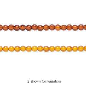 bead, baltic amber (heated), 3mm round, b grade, mohs hardness 2 to 2-1/2. sold per 16-inch strand.