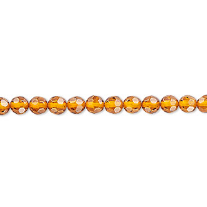 bead, baltic amber (heated), 4mm faceted round, a grade, mohs hardness 2 to 2-1/2. sold per 16-inch strand.