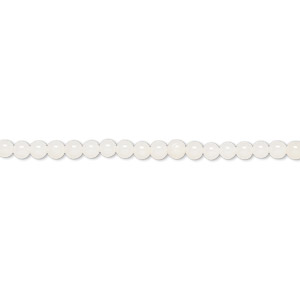 bead, bamboo coral (bleached), white, 3mm round with 0.4mm hole, b- grade, mohs hardness 3-1/2 to 4. sold per 16-inch strand.