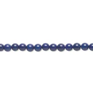 bead, bamboo coral (dyed), blue, 4mm round, b- grade, mohs hardness 3-1/2 to 4. sold per 16-inch strand.