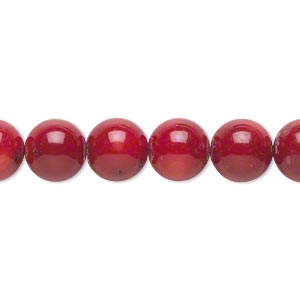 bead, bamboo coral (dyed), dark red, 9-10mm round, c grade, mohs hardness 3-1/2 to 4. sold per 16-inch strand.