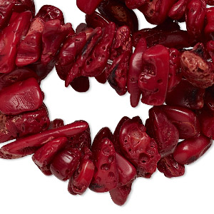 bead, bamboo coral (dyed), dark red, extra-large chip, mohs hardness 3-1/2 to 4. sold per 34-inch strand.