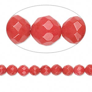 bead, bamboo coral (dyed), medium to dark red, 5-6mm faceted round, b- grade, mohs hardness 3-1/2 to 4. sold per 16-inch strand.