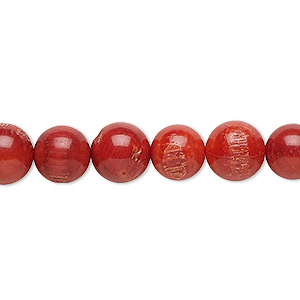 bead, bamboo coral (dyed), medium to dark red, 7-8mm round, c grade, mohs hardness 3-1/2 to 4. sold per 16-inch strand.