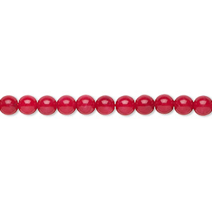 bead, bamboo coral (dyed), red, 3.5-4mm hand-cut round with 0.5-0.7mm hole, b grade, mohs hardness 3-1/2 to 4. sold per 16-inch strand.