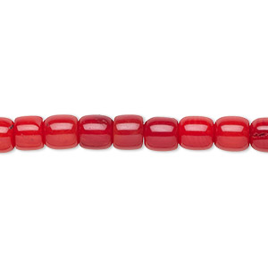 bead, bamboo coral (dyed), red, 6mm hand-cut drum with 0.9-1.1mm hole, b- grade, mohs hardness 3-1/2 to 4. sold per 16-inch strand.
