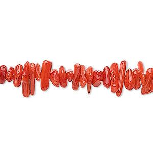 bead, bamboo coral (dyed), red, 6x1mm-16x4mm cupolini, c grade, mohs hardness 3-1/2 to 4. sold per 16-inch strand.