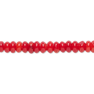 bead, bamboo coral (dyed), red, 6x3mm hand-cut rondelle, b- grade, mohs hardness 3-1/2 to 4. sold per 16-inch strand.