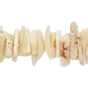 bead, bamboo coral (natural), extra-large chip, mohs hardness 3-1/2 to 4. sold per 15-inch strand.